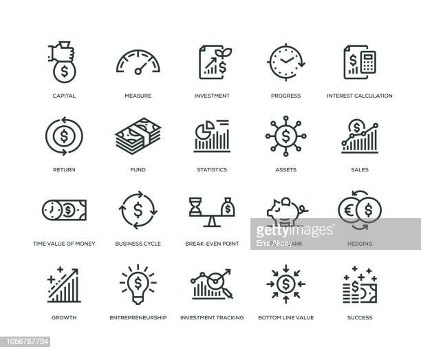 return on investment icons - line series - icon set stock illustrations