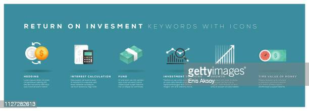 return on investment keywords with icons - return on investment stock illustrations