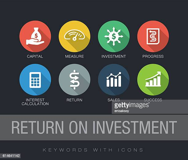 ilustraciones, imágenes clip art, dibujos animados e iconos de stock de return on investment keywords with icons - finanzas