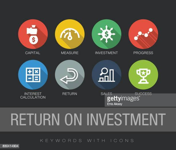 return on investment keywords with icons - long shadow design stock illustrations