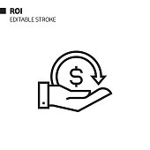return investment line icon outline vector