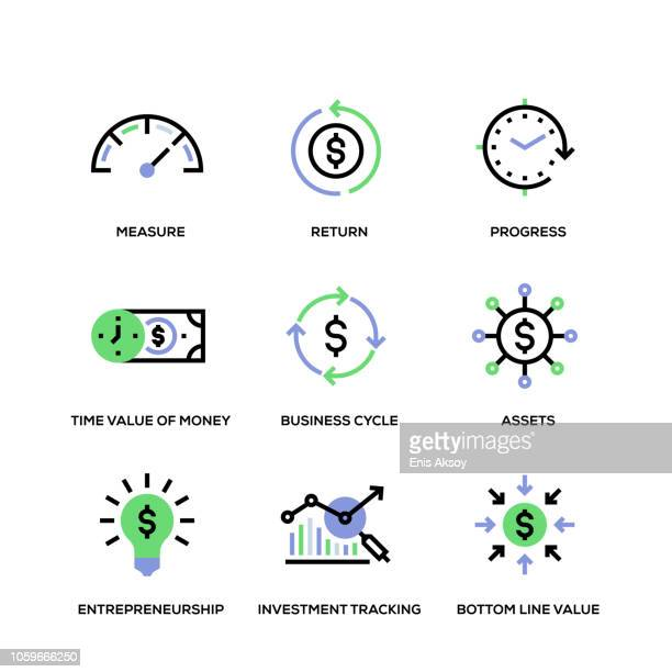 return on investment line icon set - dollar sign stock illustrations