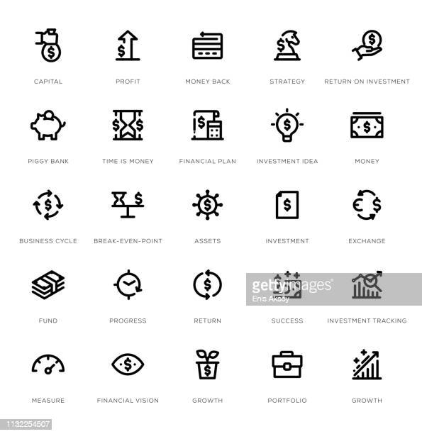 rückkehr auf investment line icon set - kapitell stock-grafiken, -clipart, -cartoons und -symbole
