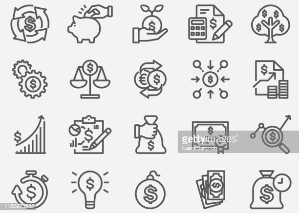 illustrazioni stock, clip art, cartoni animati e icone di tendenza di icone della linea di ritorno sull'investimento - rinviare la palla