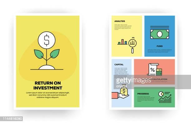 rendite auf investitionen bezogene infografik - return stock-grafiken, -clipart, -cartoons und -symbole