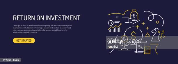 return on investment related web banner line style. modernes design vektor-illustration für web-banner, website-header etc. - return stock-grafiken, -clipart, -cartoons und -symbole