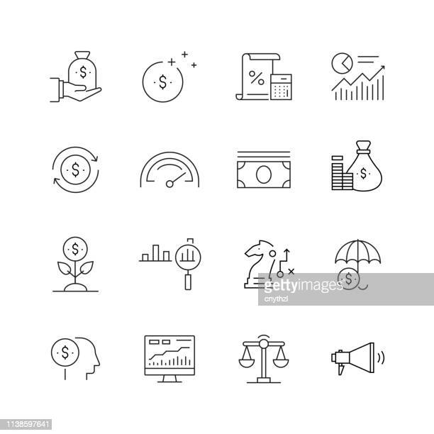 return on investment-set of thin line vector icons - börsenhandel finanzberuf stock-grafiken, -clipart, -cartoons und -symbole
