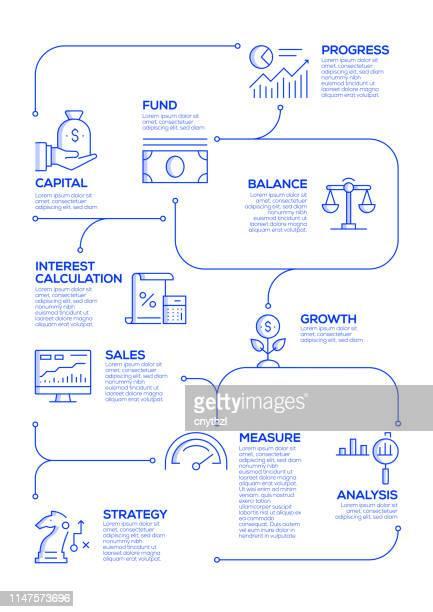 rückkehr zu investment vector concept und infographischen designelementen im linearstil - return stock-grafiken, -clipart, -cartoons und -symbole