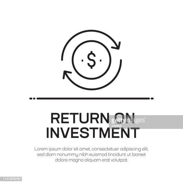 ilustraciones, imágenes clip art, dibujos animados e iconos de stock de icono de retorno de la línea vectorial de inversión: icono de línea delgada simple, elemento de diseño de calidad premium - devolución del saque