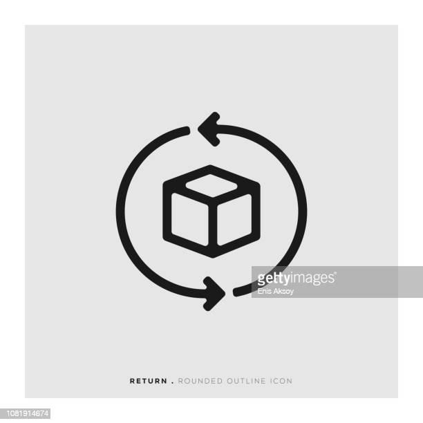return rounded line icon - returning stock illustrations