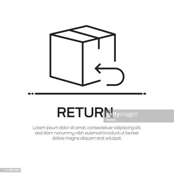 ilustraciones, imágenes clip art, dibujos animados e iconos de stock de icono de línea vectorial de retorno: icono de línea delgada simple, elemento de diseño de calidad premium - devolución del saque
