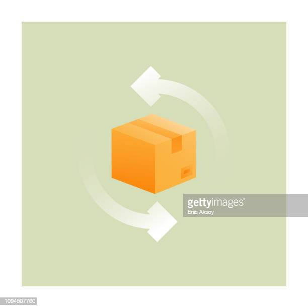 illustrazioni stock, clip art, cartoni animati e icone di tendenza di returned products icon - rinviare la palla