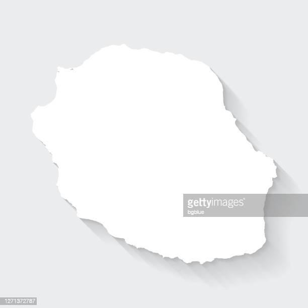 illustrations, cliparts, dessins animés et icônes de carte de réunion avec l'ombre longue sur l'arrière-plan blanc - conception plate - océan indien