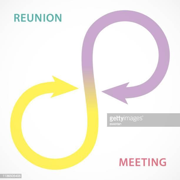ilustrações, clipart, desenhos animados e ícones de reunion & meeting na série arrow - repetição conceito