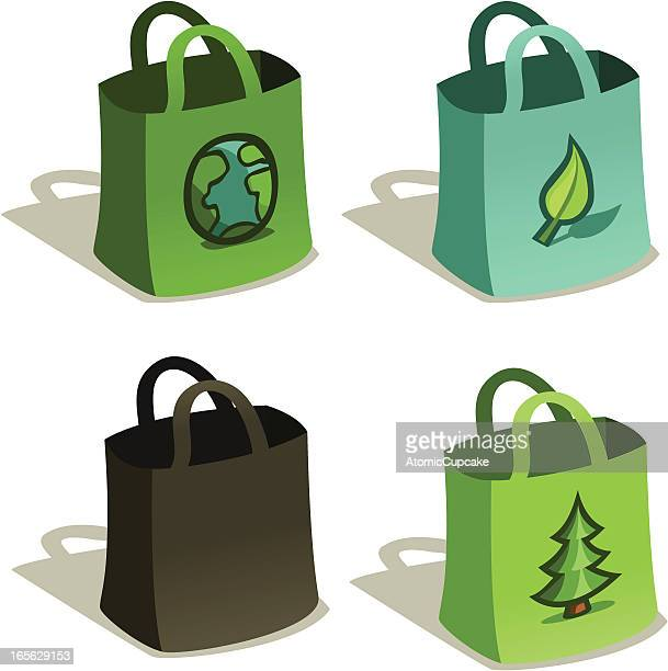Reusable Bags for Grocery Shopping in Blue & Green, Vector