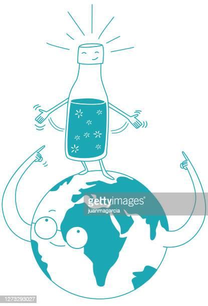 ilustraciones, imágenes clip art, dibujos animados e iconos de stock de botella ecológica reutilizable. - biodiversidad