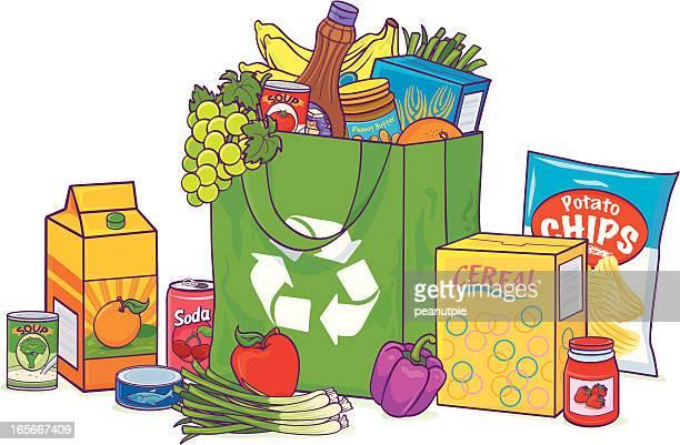 reusable overflowing grocery bag - orange juice stock illustrations, clip art, cartoons, & icons