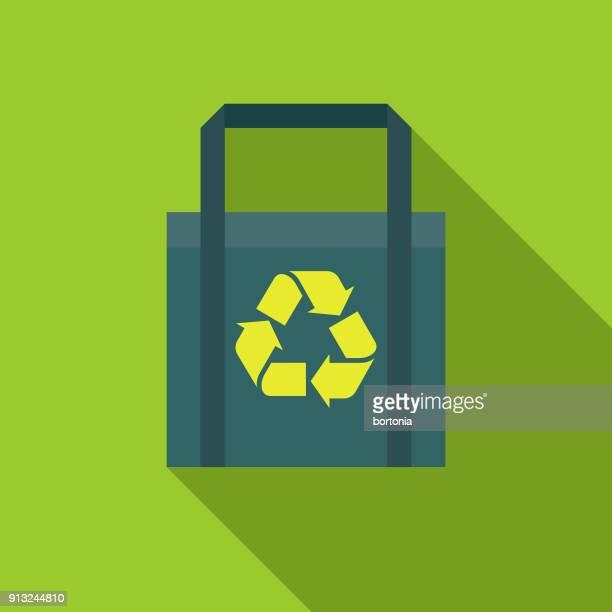 reusable shopping bag flat design environmental icon - reusable bag stock illustrations