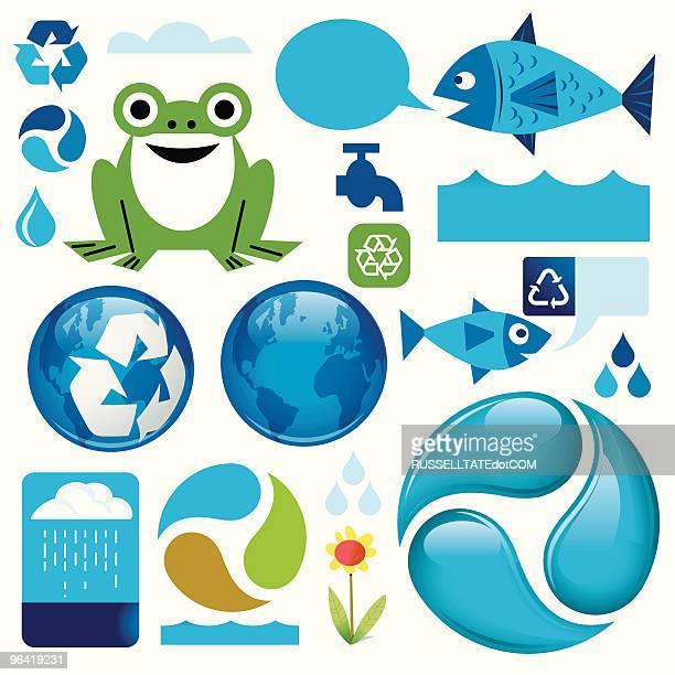 re.use water - three animals stock illustrations
