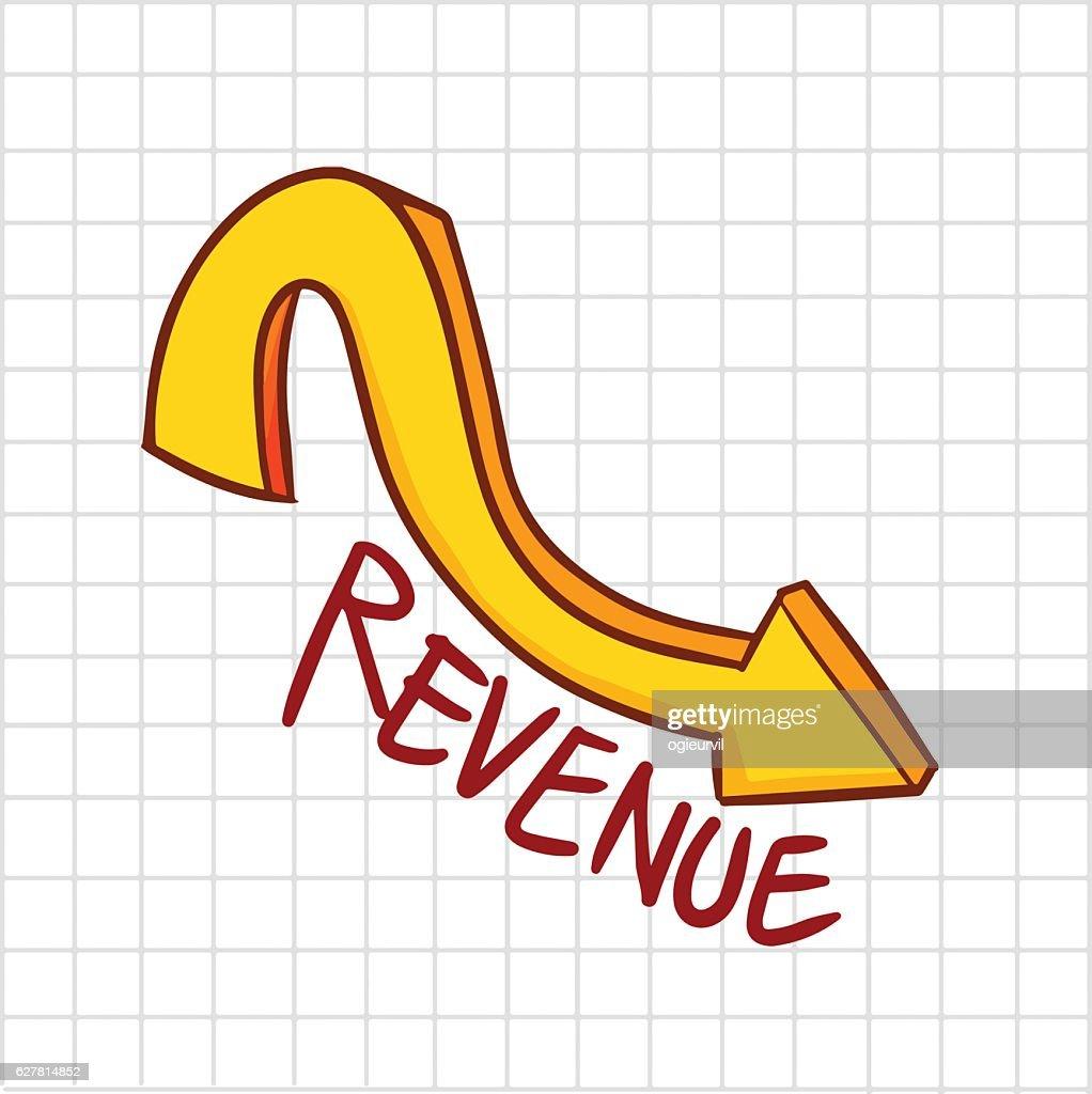 Revenue down trend graphic - vector.