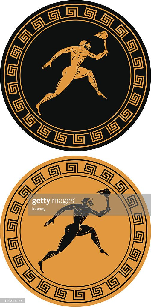 Reverse images of orange and black Olympic flame