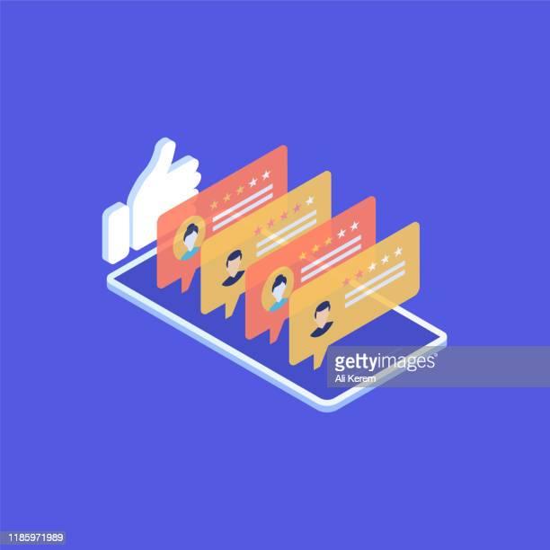 illustrations, cliparts, dessins animés et icônes de concept d'examen dans l'illustration de vecteur isometric - marketing numérique