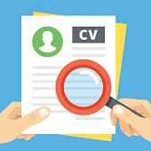 CV review flat illustration. Hand with magnifier over curriculum vitae