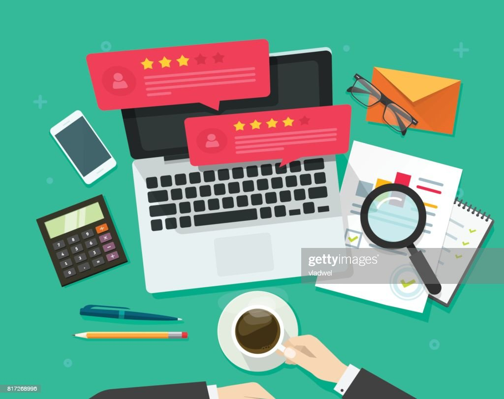 Review rating bubble speeches on computer vector illustration, flat style laptop reviews stars good, bad rate, concept of customer testimonials messages, notifications, feedback experience