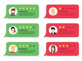 Review rating bubble speeches. Vector modern style cartoon character illustration avatar icon design.