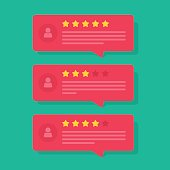 Review rating bubble speeches vector, reviews stars with good and bad rate and tex