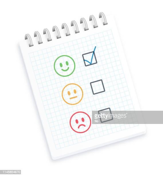 ilustraciones, imágenes clip art, dibujos animados e iconos de stock de revisión o calificación bloc de notas - cuestionario