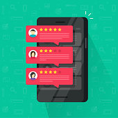 Reviews rating bubble on mobile phone vector illustration, flat smartphone review stars with good and bad rate and text, concept of testimonials messages, notifications, customer feedback