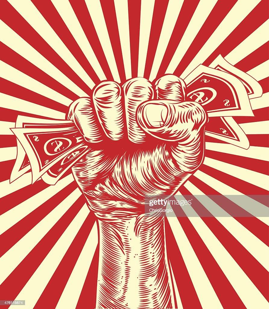 Revolution fist holding money concept