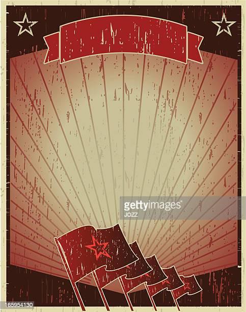 illustrazioni stock, clip art, cartoni animati e icone di tendenza di bandiera della rivoluzione poster - ex unione sovietica