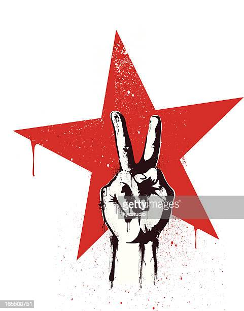 revolution victory - symbols of peace stock illustrations
