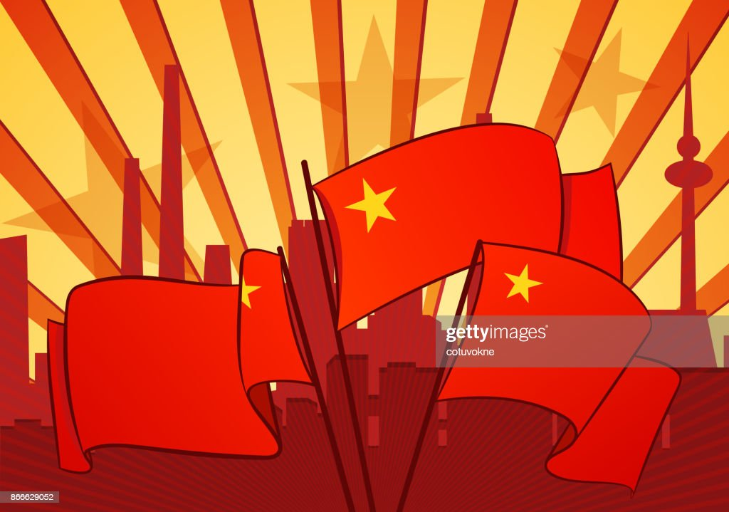 Revolutional background with a red flags