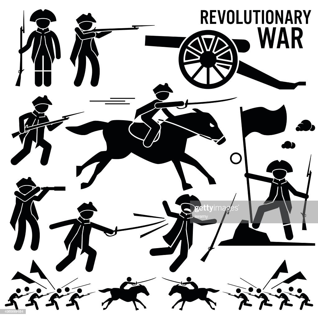 Revolutionary War Soldier Horse Gun Fight Patriotic Cliparts