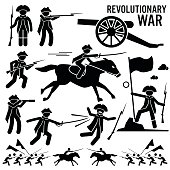 Revolutionary War Soldier Horse Gun Fight Patriotic Cliparts