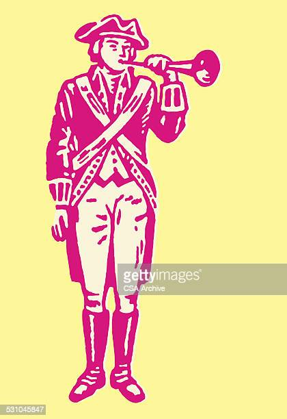 revolutionary with trumpet - colonial style stock illustrations