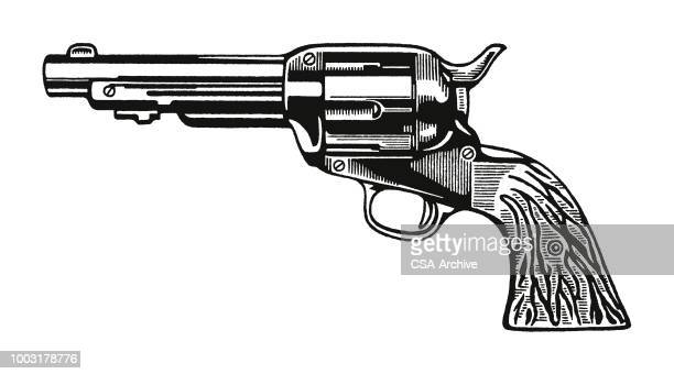 illustrations, cliparts, dessins animés et icônes de le revolver - pistolet
