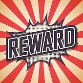Reward. Comic Speech Bubble. Vector illustration