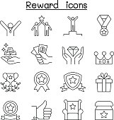 Reward & Success icon set in thin line style