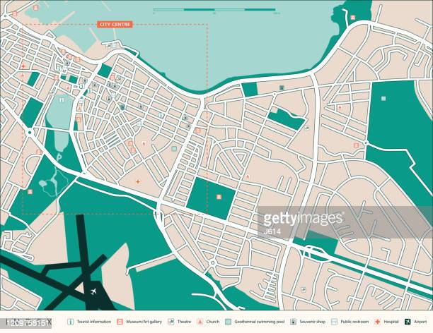 reykjavik tourist map - capital cities stock illustrations