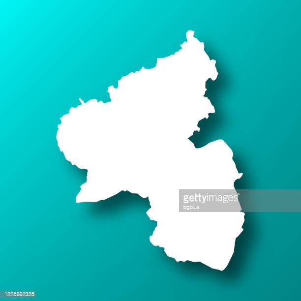 影のあるブルーグリーン背景のラインラント=プファルツ州の地図 - ラインラント=プファルツ州点のイラスト素材/クリップアート素材/マンガ素材/アイコン素材