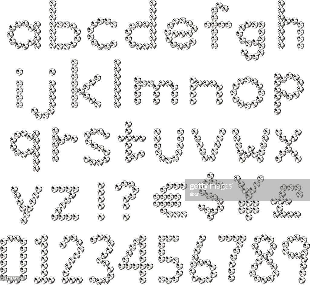 Rhinestones fonts small letter