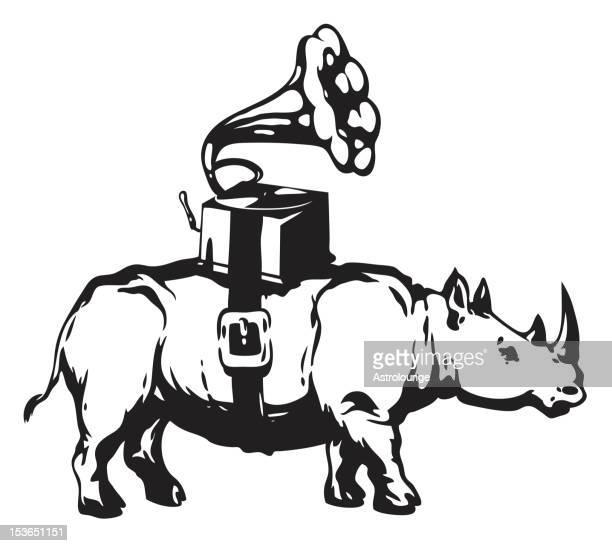 rhino and gramophone - stencil stock illustrations
