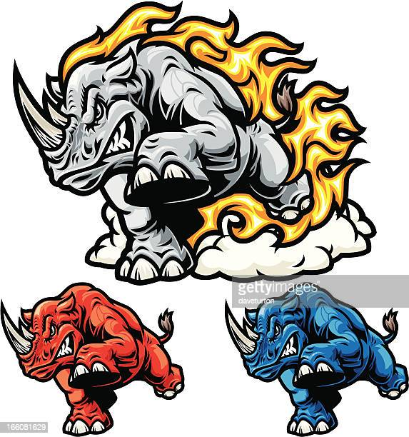 rhino charging mascot - animals charging stock illustrations, clip art, cartoons, & icons