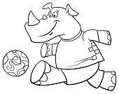 rhino football player character coloring book