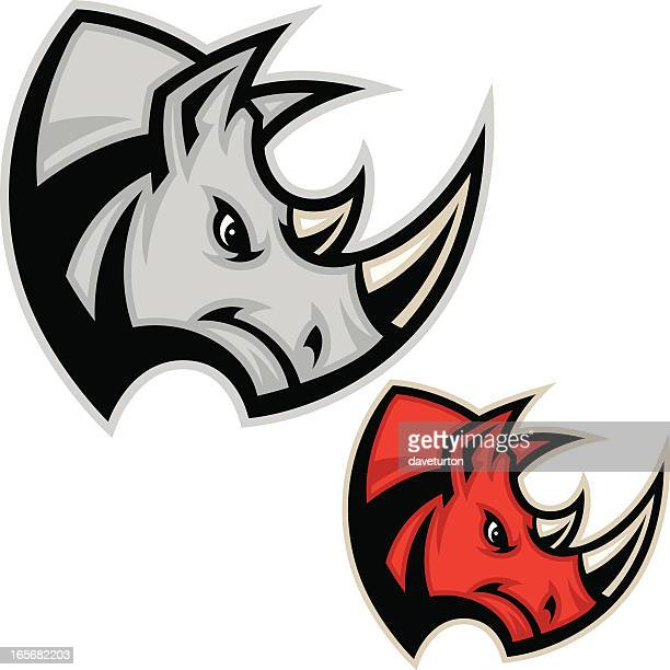 rhino head charge - animals charging stock illustrations, clip art, cartoons, & icons