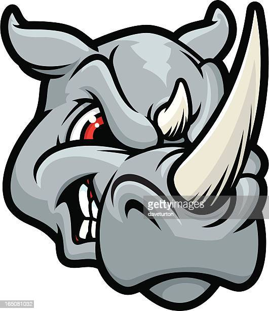 rhino head mean - animals charging stock illustrations, clip art, cartoons, & icons